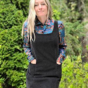Vintage Y2K Black Corduroy Jumper Dress w Pockets